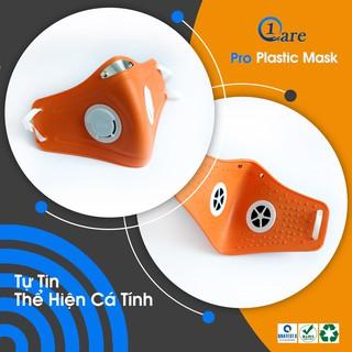 Khẩu trang nhựa đa năng 1Care Pro lọc bụi mịn PM5.0, kháng nước chống nắng 100%. Khẩu trang nhựa màu cam nổi bật thumbnail