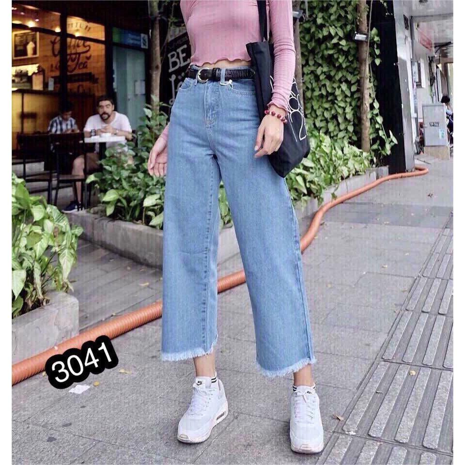 [FREESHIP 99K TOÀN QUỐC] Quần Jeans Nữ Ống Rộng Cao Cấp OHS3041