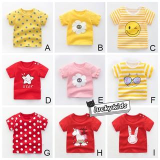 Áo thun Cotton ngắn tay họa tiết hoạt hình xinh xắn theo phong cách mùa hè dành cho bé 1-5 tuổi 2021