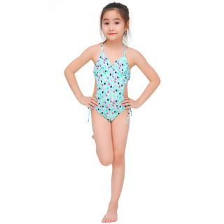 Bộ bơi bé gái Narsis KA0008 màu xanh bạc hà chấm bi