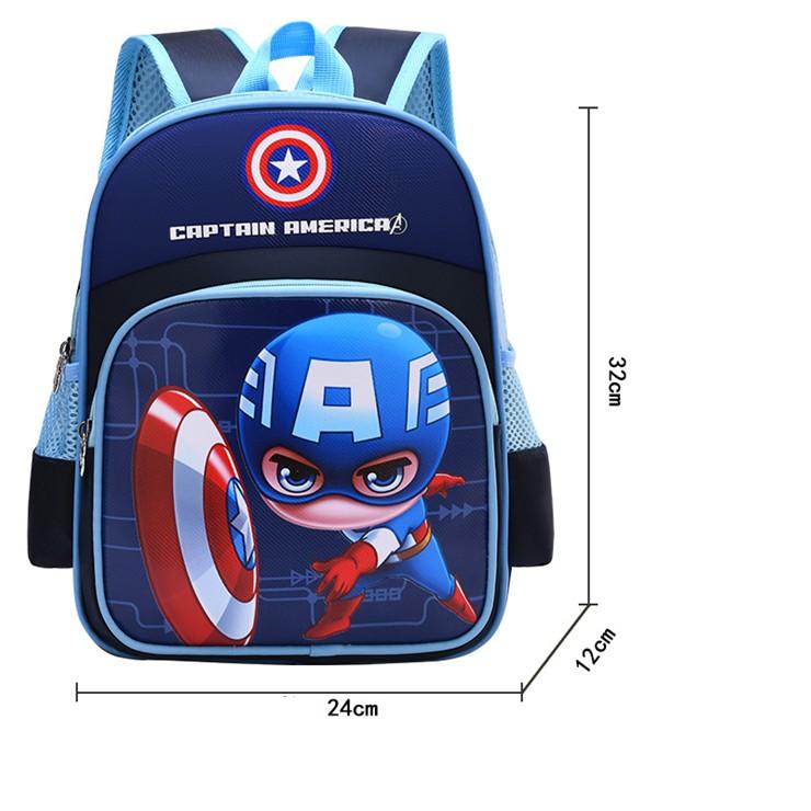 Balo cho bé hình siêu nhân Captain American cho bé mẫu giáo 1-5 tuổi
