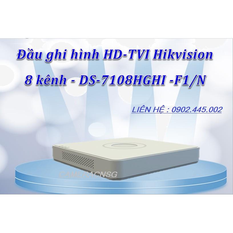 Đầu ghi hình camera HIkvision 8 kênh Analog + Hỗ trợ 2 Camera IP H264+ - DS-7108HGHI -F1/N
