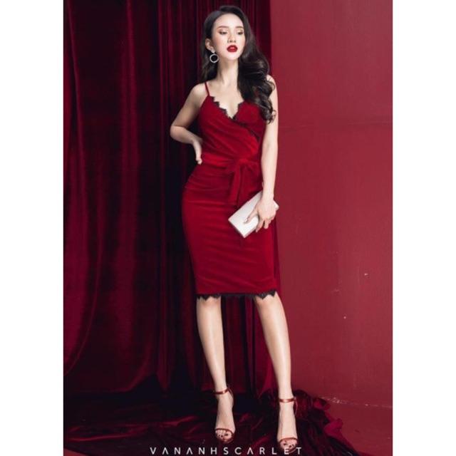 1285584925 - Đầm ôm body dự tiệc sang trọng - đầm nhung đỏ hở ngực 2 dây quyến rũ