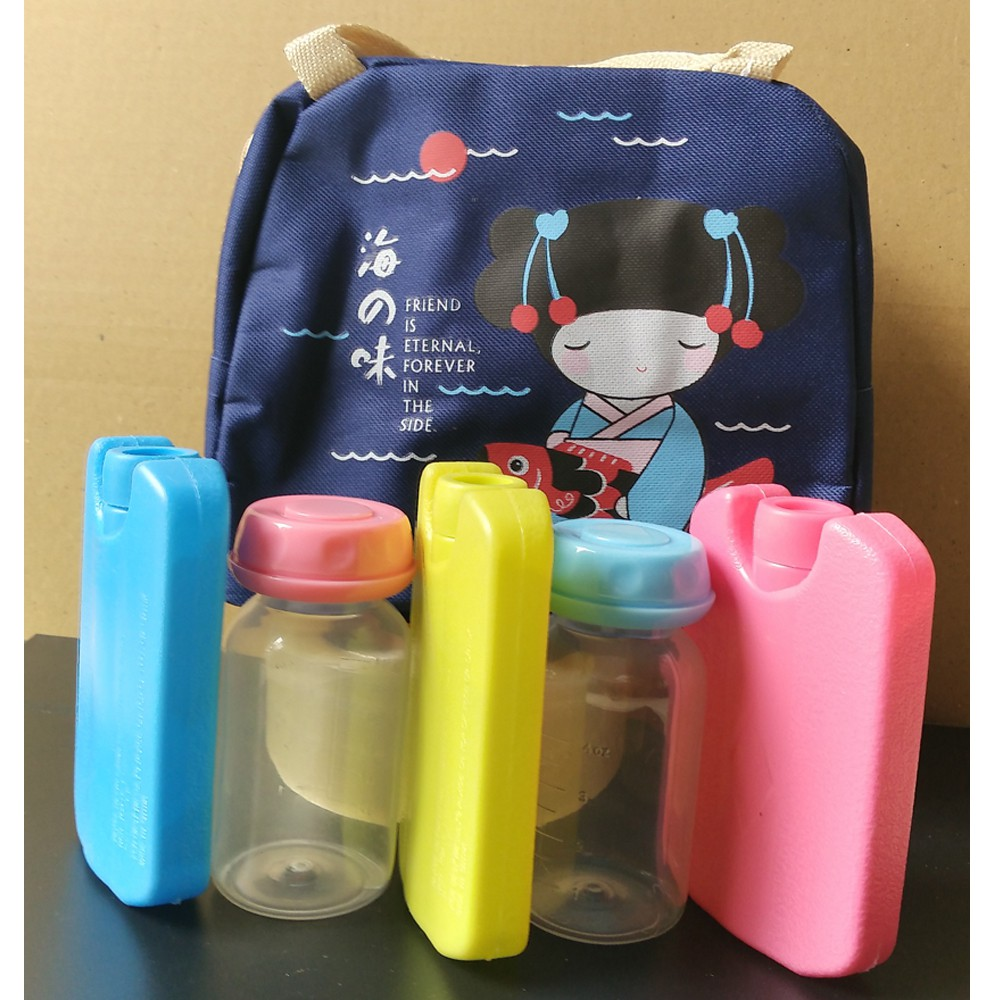 Bộ sản phẩm túi giữ nhiệt cô gái nhật xanh + 02 bình trữ sữa 125ml + 03 bình đá khô 150ml