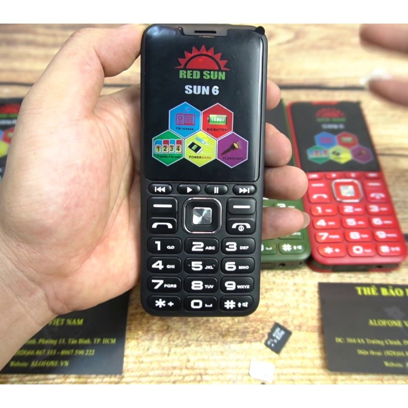 ĐIỆN THOẠI SUN 6 - 4 sim ( loa to, chữ to),pin 18000 mah tự động ghi âm cuộc gọi, giả giọng nói - hàng nhập khẩu