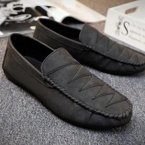 Giày lười da lộn mẫu mới nhập khẩu ZAVANS (Đen)
