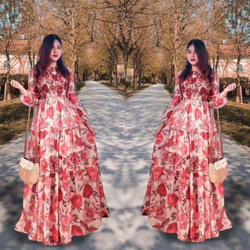 Mặc gì đẹp: Bồng bềnh với [RẺ VÔ ĐỊCH] Đầm Maxi Hoa Xòe (SIZE S-M-L) tay dài bo phồng ngực nhúng HÀNG THIẾT KẾ