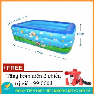 Deca – Bể bơi hồ bơi hơi cho bé 3 tầng 210cm x 65cm x 145cm