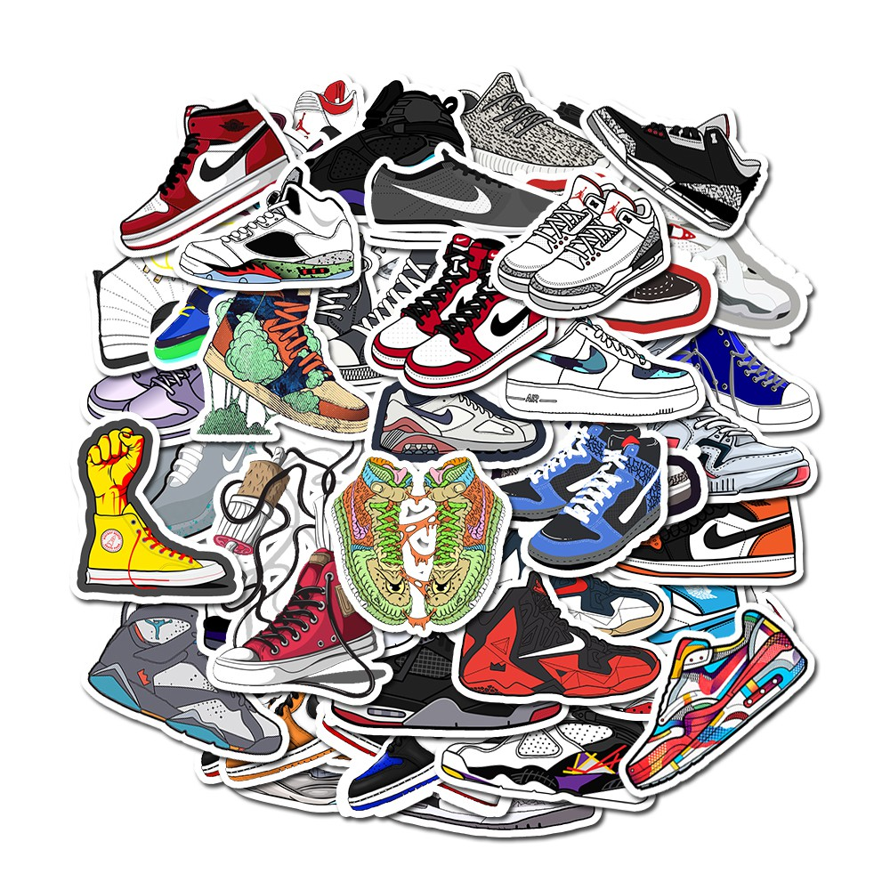 Bộ 50 miếng dán hình giày AJ hoạt họa kháng nước trang trí ván trượt/sổ tay