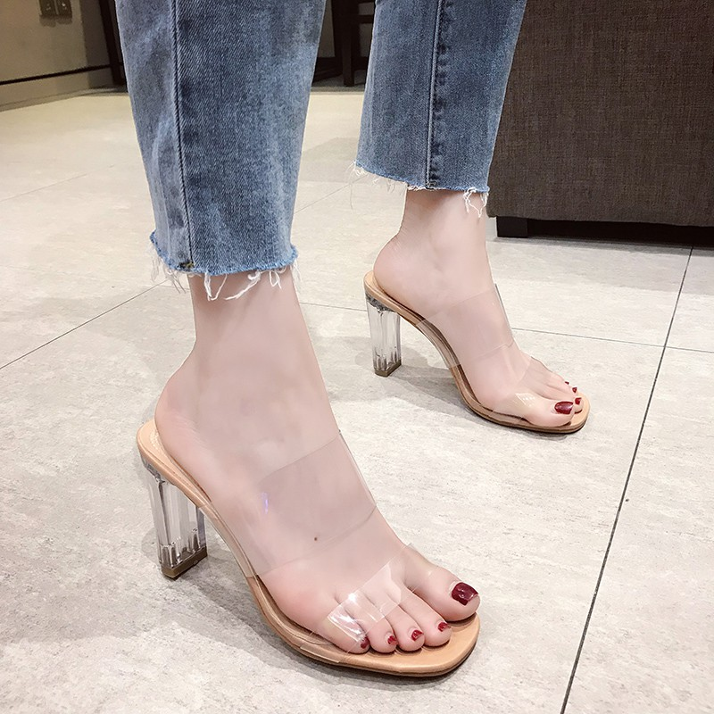 Slippers women wear transparent high heel with Korean version of the word thick with sandals and slippers
