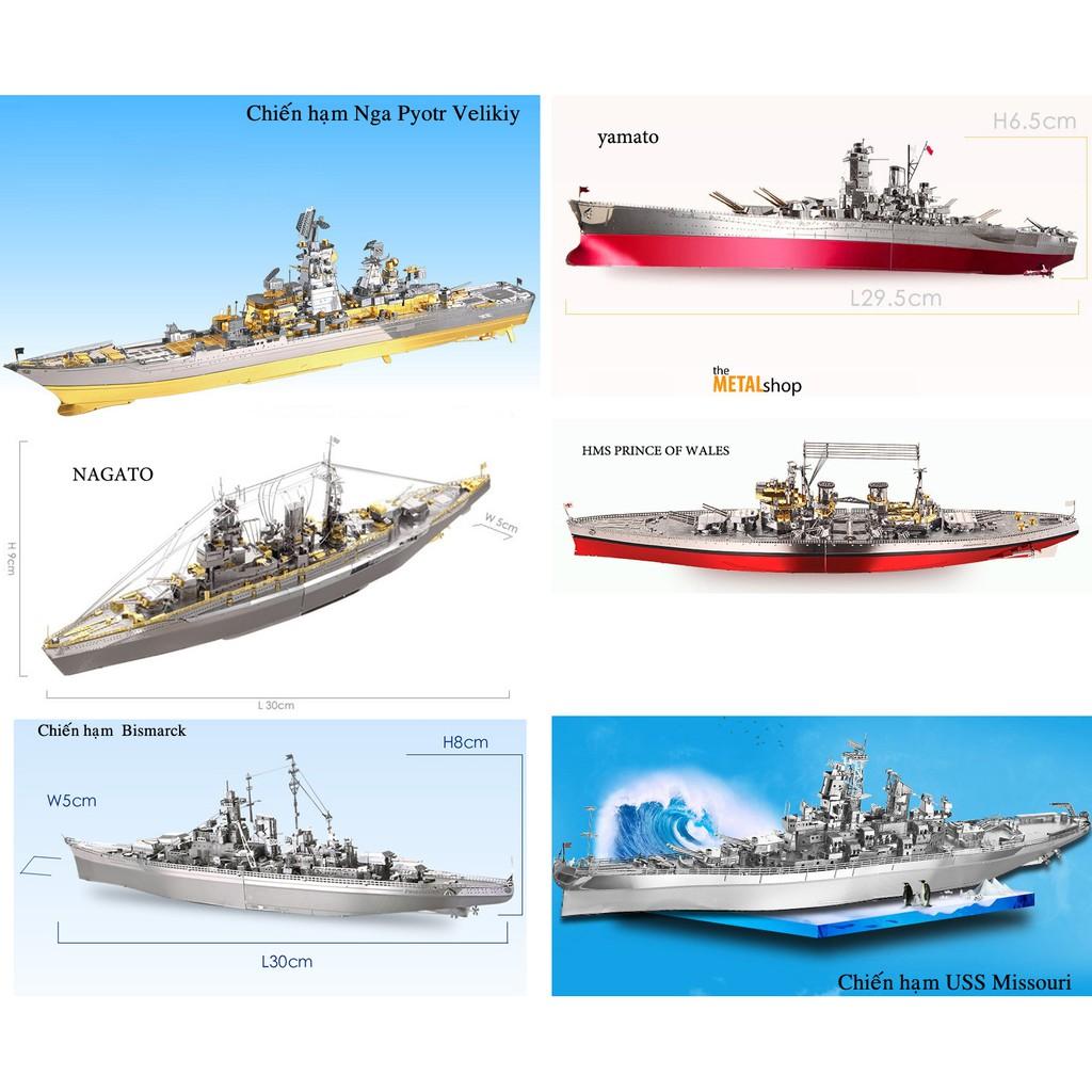 Mô Hình Lắp Ghép 3D Kim Loại chiến hạm cỡ to