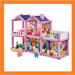 [Loại lớn] ngôi nhà heo Peppa 127 chi tiết – gia đình 4 nhân vật đồ chơi heo peppa pigs