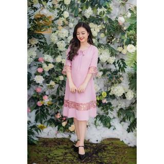 Đầm bầu cổ tròn phối ren tay hồng ruốc Emum thumbnail