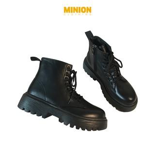 Giày boots Minion Clothing cổ cao, đế độn 4cm phong cách Unisex Ulzzang Streetwear G2401