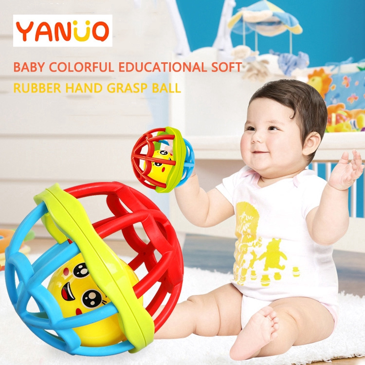 【Ready Stock】Baby Educational Soft Rubber Hand Grasp Rolling Ball Toy