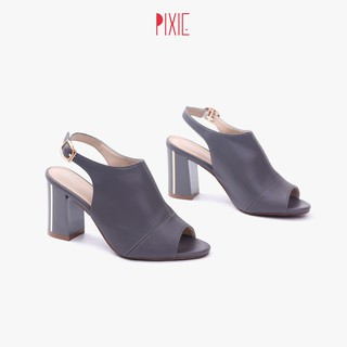 Giày Giả Boot Sapo 7cm Đế Vuông Hở Mũi Pixie X639