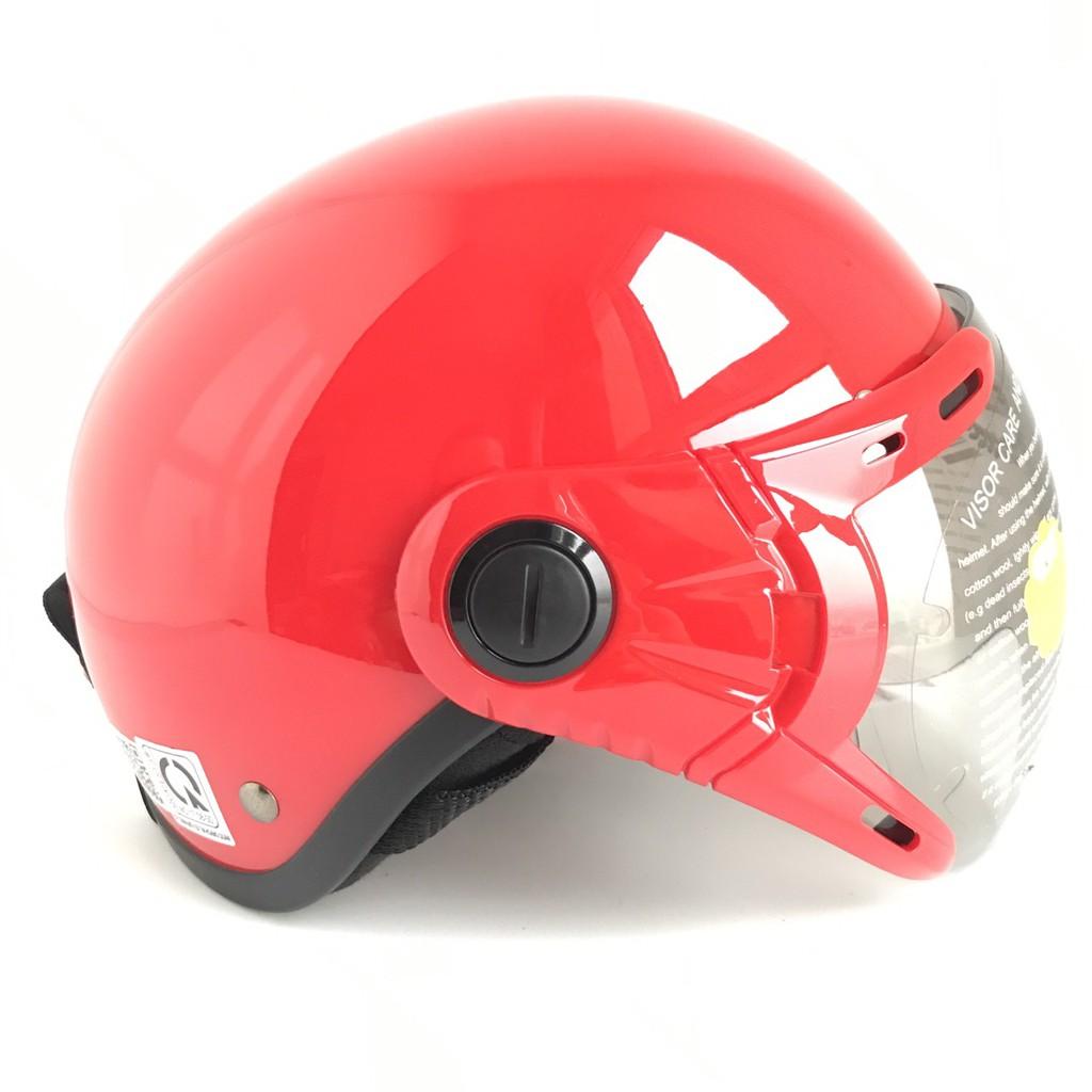 Mũ bảo hiểm nửa đầu có kính - Dành cho người lớn vòng đầu 56-58cm - GRS A33K - Đỏ Bóng - Nón bảo hiểm Nam - Bảo hiểm Nữ