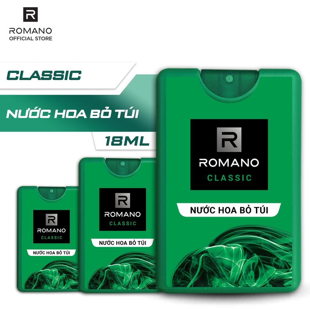 Combo 3 Nước hoa bỏ túi Romano Classic cổ điển lịch lãm 18ml/hộp