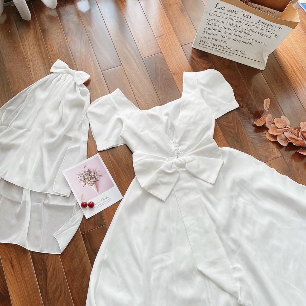 Mặc gì đẹp: Sang chảnh với Đầm dự tiệc trắng xòe nơ lưng Cindy Dress sang trọng