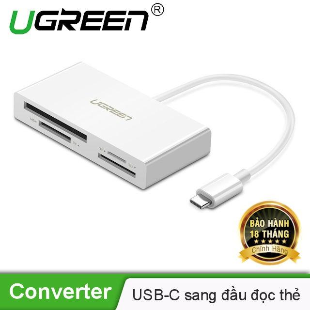 Bộ chuyển đổi USB-C sang đầu đọc thẻ nhớ 4 cổng Micro SD/SD/CF/MS UGREEN CM102 40444