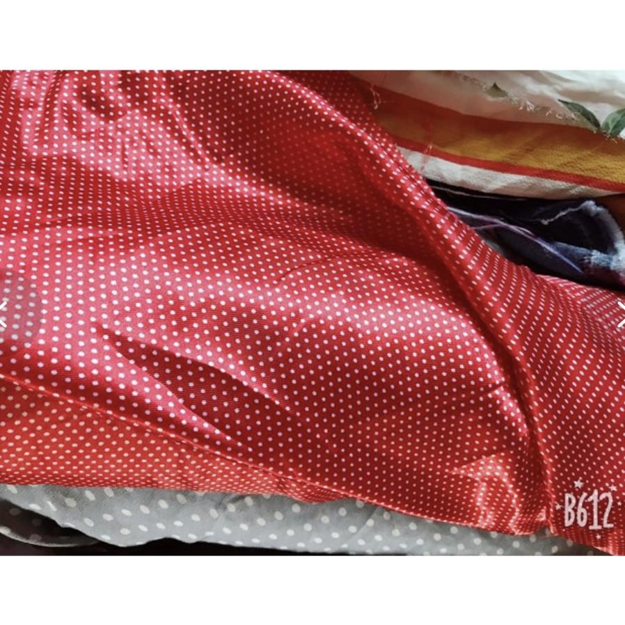 Vải phi lụa chấm bi 35k/m ba màu xanh, đỏ, nâu