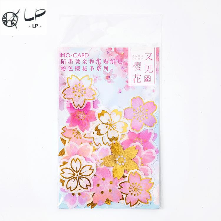 Momo pink cherry blossom and paper sticker bag girl heart gi