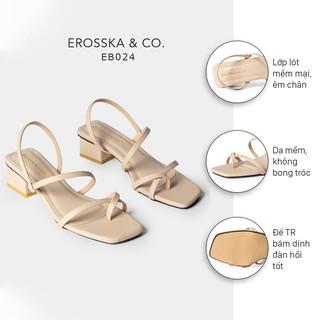 Hình ảnh Sandal nữ xỏ ngón dây mảnh thời trang Erosska cao 5cm màu kem_EB024-1
