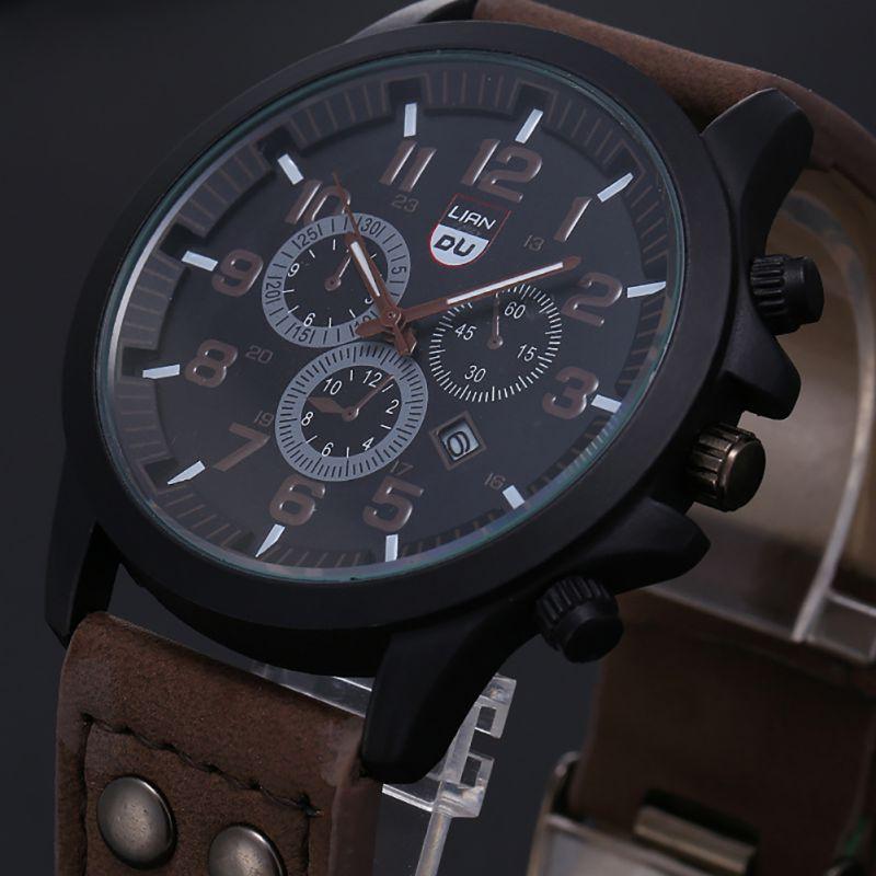 Đồng hồ quân đội dây đeo da có chống nước