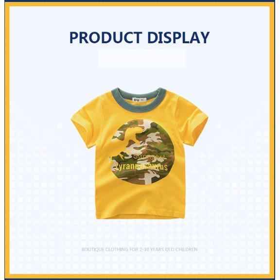 Áo bé trai 27KIDS áo thun cho bé in khủng long Dinosaur ngộ nghĩnh chất cotton hàng xuất Âu Mỹ chất cotton