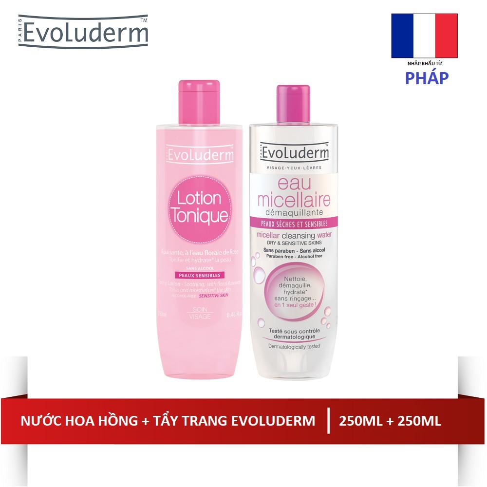 Bộ nước hoa hồng Lotion Tonique (250ml) và Tẩy trang EvoludermMicellaire Peauux Sèches et Sensibles - 3357548 , 614329360 , 322_614329360 , 314000 , Bo-nuoc-hoa-hong-Lotion-Tonique-250ml-va-Tay-trang-EvoludermMicellaire-Peauux-Seches-et-Sensibles-322_614329360 , shopee.vn , Bộ nước hoa hồng Lotion Tonique (250ml) và Tẩy trang EvoludermMicellaire Peau