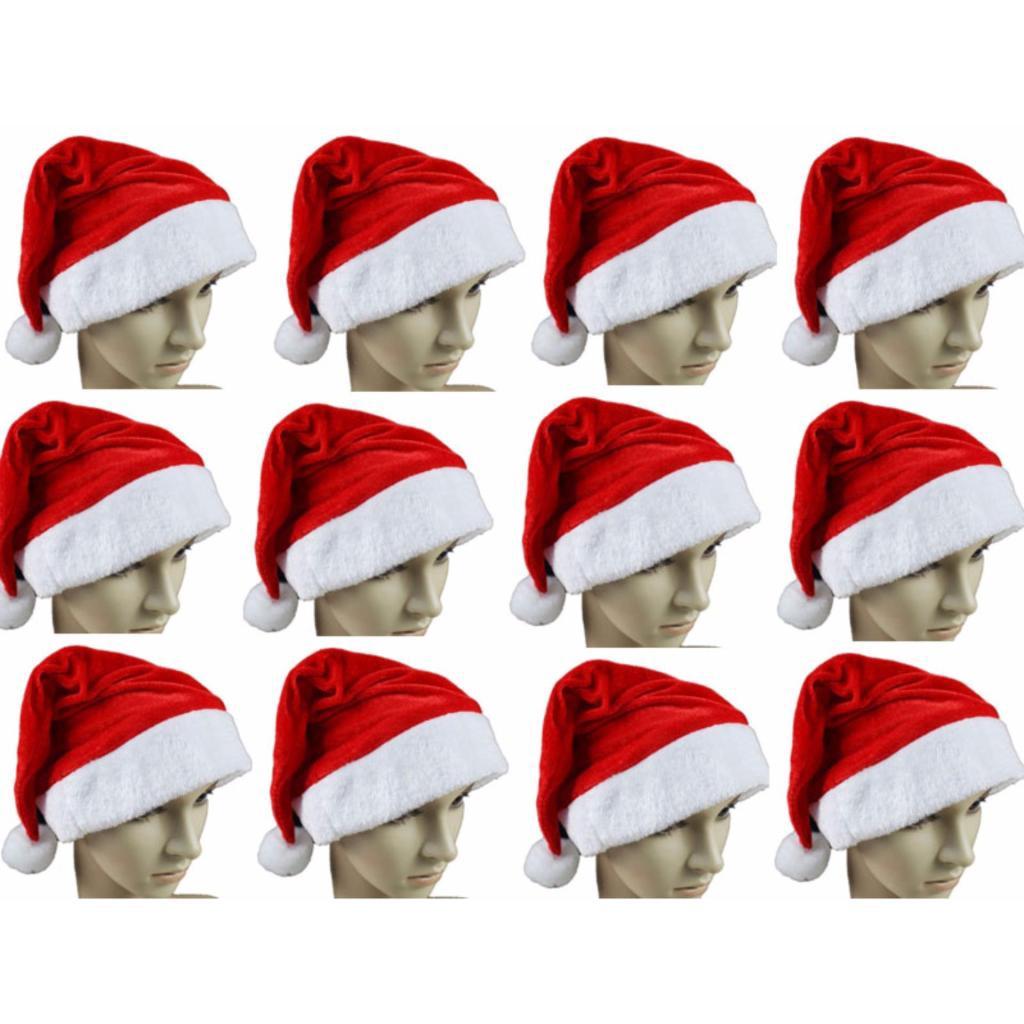 หมวกซานต้าครอส คริสต์มาส Christmas Christmas Hat หมวกซานต้า  วันคริสต์มาส และวันปีใหม่ 12 ใบ ผ้ากำมะหยี่มวกซานต้าครอส คร