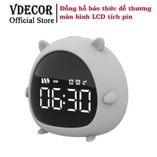 Đồng hồ báo thức Vdecor để bàn siêu dễ thương- Báo Thức Thức Mini USB Màn Hình LED HD, Quà Tặng