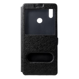 Dual View Window Silk Texture Leather Stand Mobile Case for Huawei Honor Note 10