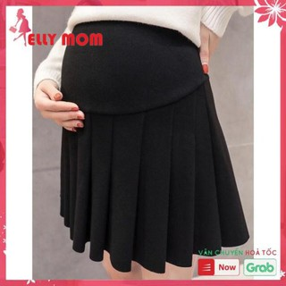 Chân váy bầu – chân váy bầu xếp ly có đỡ bụng kèm chun điều chỉnh và quần bên trong