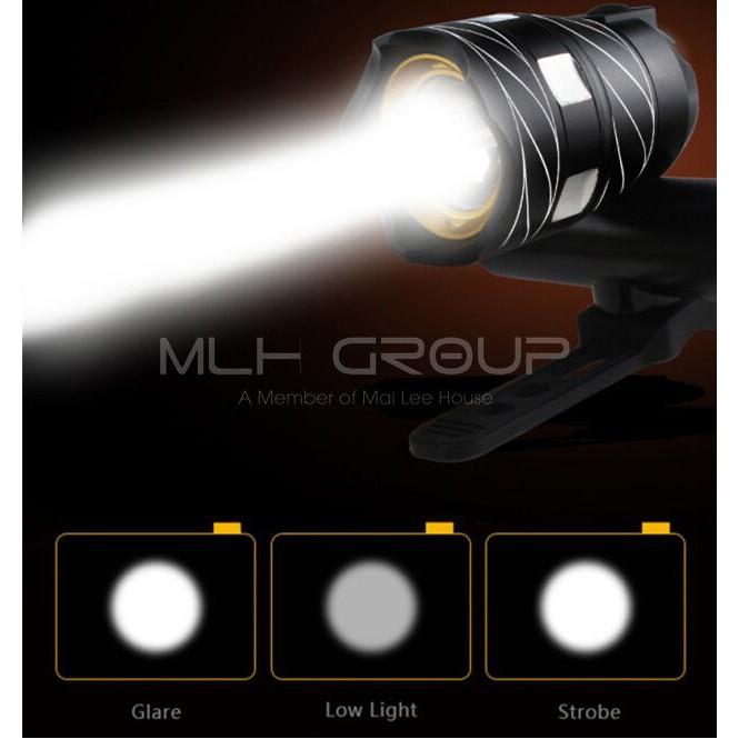 Đèn pha LED xe đạp siêu sáng T6 và đèn hậu LED (màu đỏ) cảnh báo giúp đạp xe an toàn ban đêm nhiều chế độ MLH