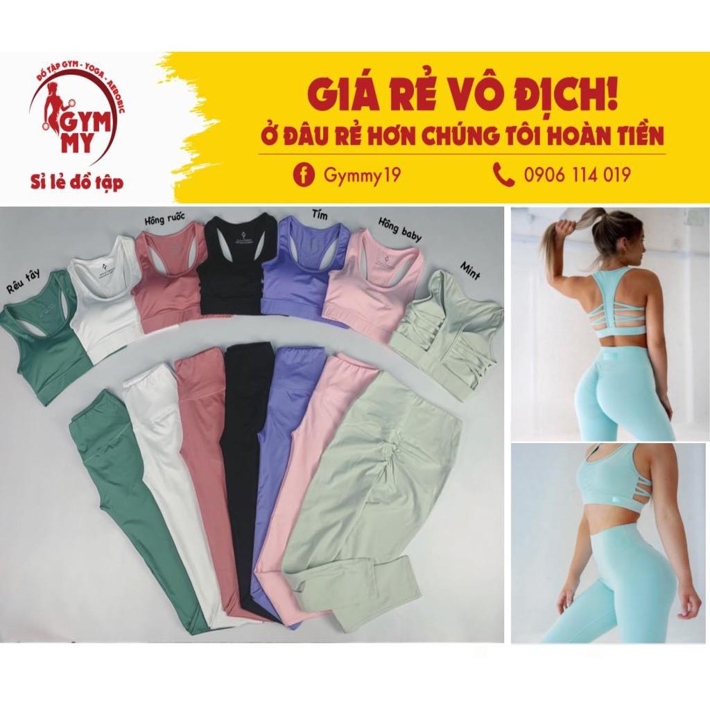 Set Dài Đan Lưng Xương Cá Chun Mông Tập Gym - Yoga - Aerobic