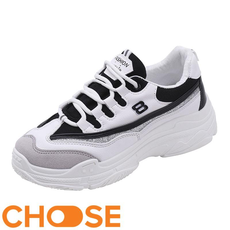 Giày Nữ Sneaker Choose Độn Đế ULZANG Thể Thao Tăng Chiều Cao Phối Màu Cá Tính G2902