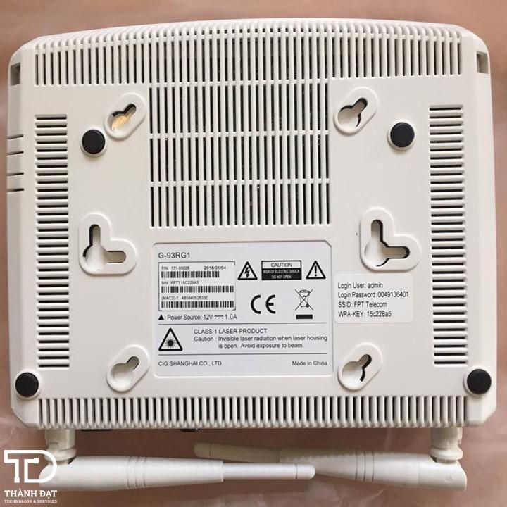 Modem WiFi 2 râu G-93GR1 - Modem Wifi quang 2 râu 4 cổng GPON