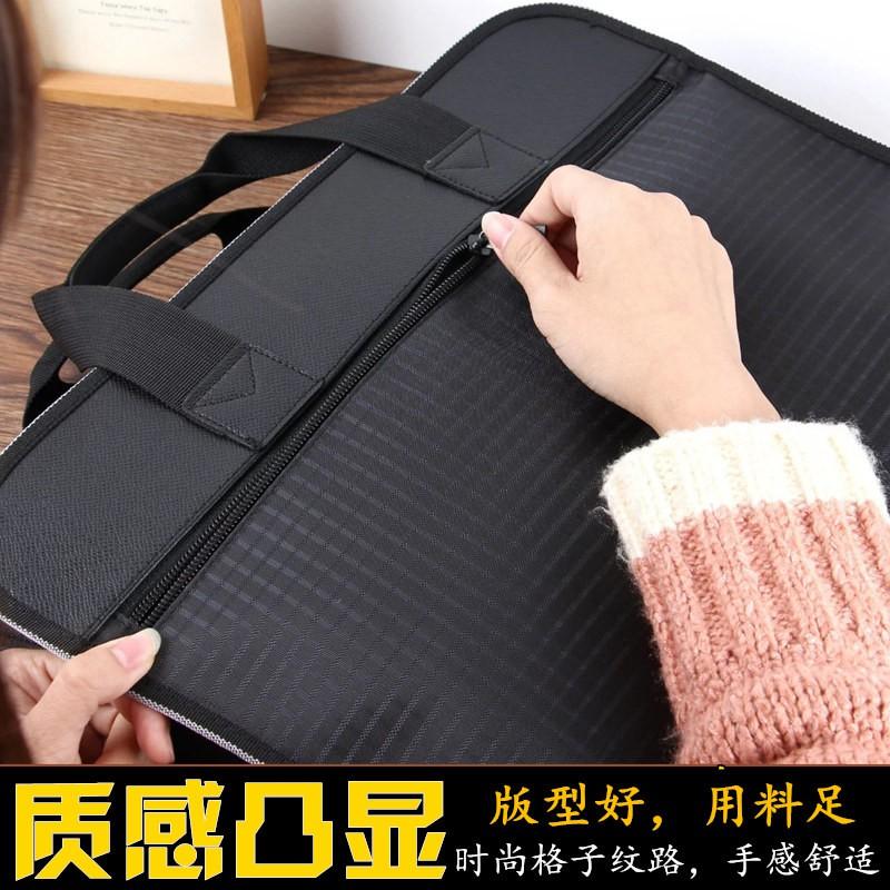A4 กระเป๋าแฟ้มแบบพกพาถุงผ้าใบถุงซิปหนาข้อมูลธุรกิจกระเป๋าเอกสารไฟล์แพคเกจการฝึกอ