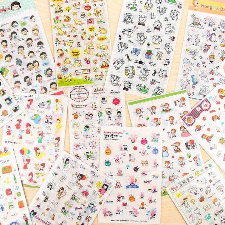 Combo 6 Miếng Dán Trang Trí Sticker Trang Trí Sticker Ngộ Nghĩnh Phong Cách Hàn Quốc Dễ Thương