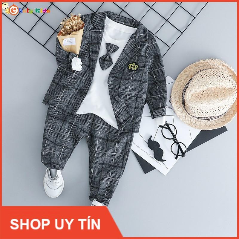 Bộ vest trẻ em 3 món cho bé từ 7 tháng đến 4 tuổi , quần áo trẻ em , thời trang trẻ em - B185