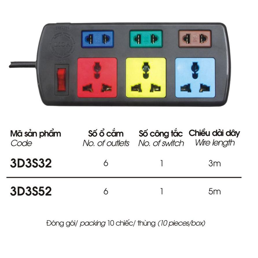 Ổ cắm điện 6 lỗ đa năng (3 lỗ 3, 3 lỗ 2) Lioa 3D3S32