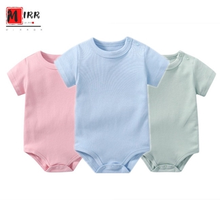 FNC Baby Jumpsuit 0-24M Pure Cotton Short-sleeved Solid Color Jumpsuit Suit Crawling Clothing