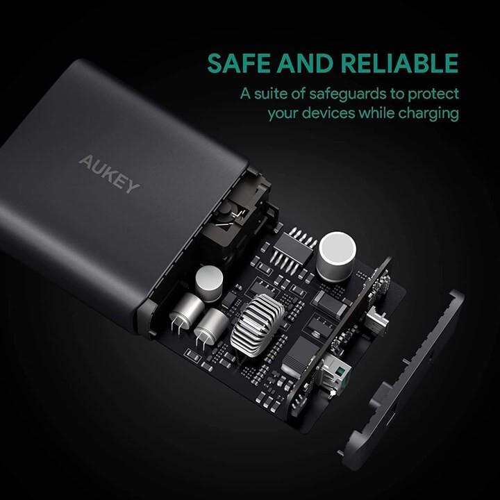 [Mã SKAMA07 giảm 8% đơn 250k]Củ sạc nhanh 56.5W Type-C và USB Aukey PA-Y10