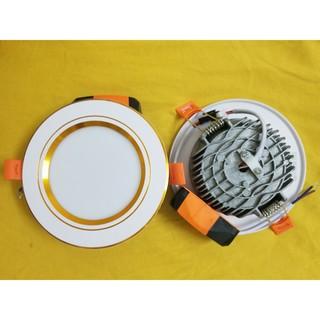 [RẺ VÔ ĐỊCH] Đèn LED âm trần đế đúc 7w, 3 chế độ màu, phi 90 viền vàng/bạc