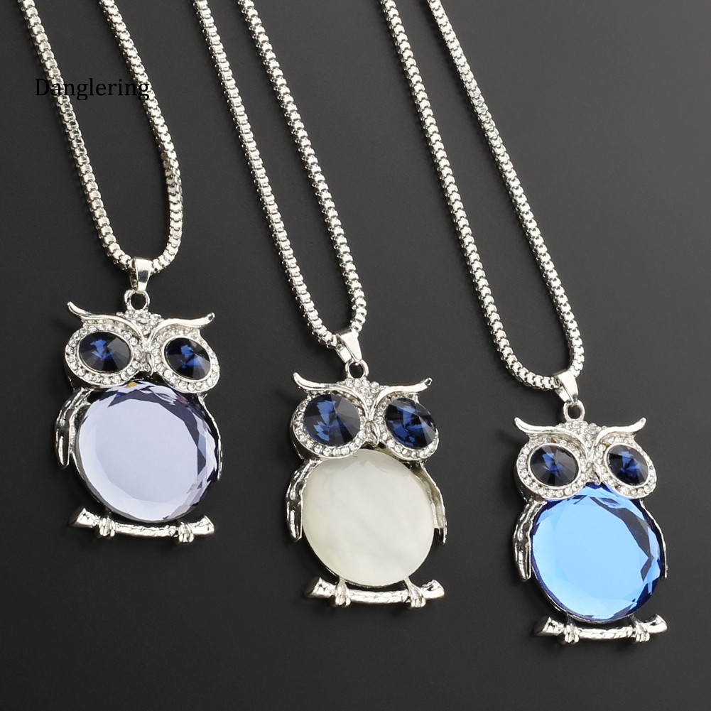 【DGLG】Women Owl Rhinestone Crystal Pendant Necklace Animal Long Sweater Chain Jewelry