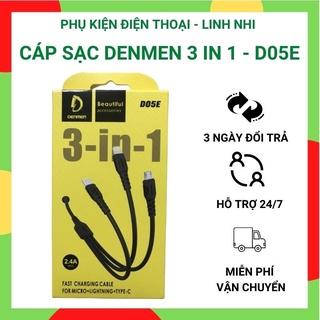 Cáp sạc 3 đầu Denmen chính hãng 3 in 1 Lightning - Micro - Type C thumbnail