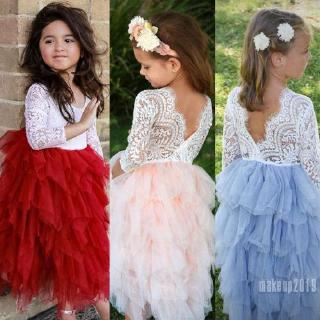 Mu♫-Fashion Toddler Baby Girl Tulle Lace Wedding Bridesmaid Formal Party Dress