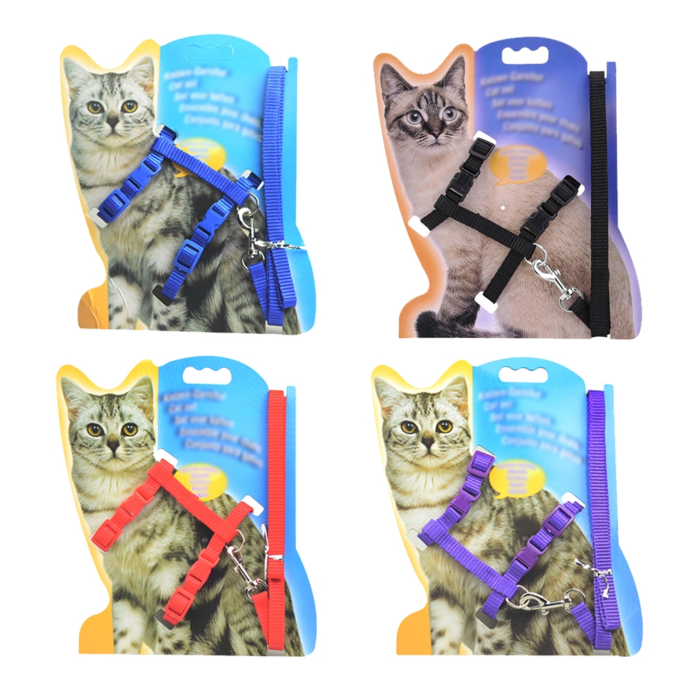 Safety Solid Durable Walking Adjustable Pet Cat Harness Collar Outdoor Control Accessories Lead Leash