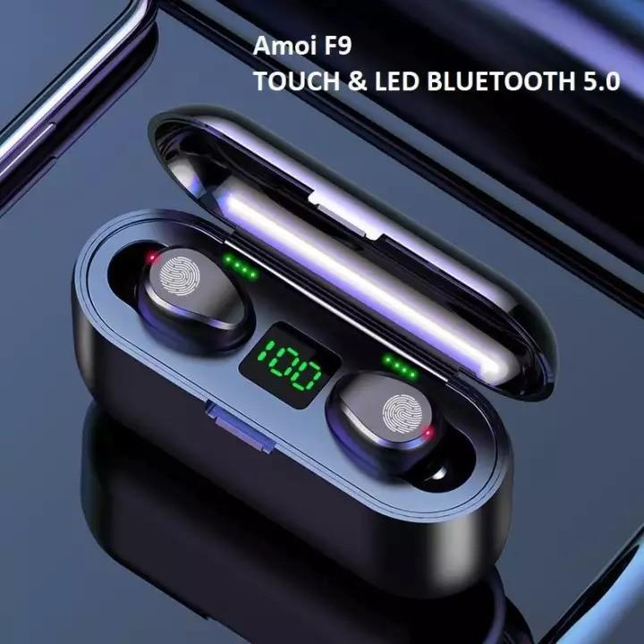 Tai nghe bluetooth AMOI F9 TWS 5.0 bản QUỐC TẾ không dây cảm ứng chống ồn chống nước IPX5, tích hợp sạc dự phòng 25